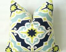 Navy Green Medallion Pillow Cover - 18 x 18, One, Medallion Pillow, Citron Aqua Navy Pillows, Nautical Pillows, Beach Decor