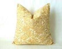 Gold Fall Pillows -  20 x 20, One, Golden Yellow Pillow, Saffron Pillow, Damask Pillow, Gold Pillow, Cushion Cover, Modern Decor, Fall Decor