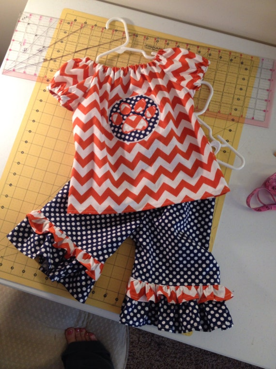 Auburn outfit, game day, ruffle pants and peasant top, orange and blue, paw print, orange chevron navy dots