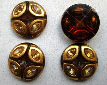 2  Vintage Amber and Gold Cabochons with Inset Rhinestones