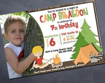 Printable Photo Birthday Invitation - Camp - Sleepover -  Any age!