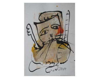 Cat - Original Drawing with colored Ink and Bambu-Stick - free shiping gold orange 8,27 x 5,51i