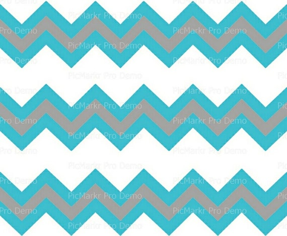 Turqoise & Silver - Chevron Birthday Background - Designer Strips - Edible Cake Side Toppers- Decorate The Sides of Your Cake! - D10067