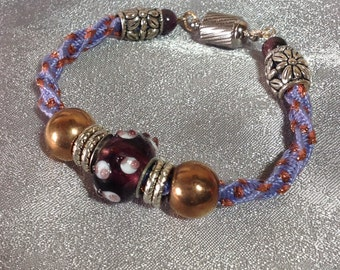 Beaded Kumihimo bracelet with magnetic clasp 7 inches