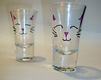 2 Cute Kitty Cat Shot Glasses. Hand Painted.