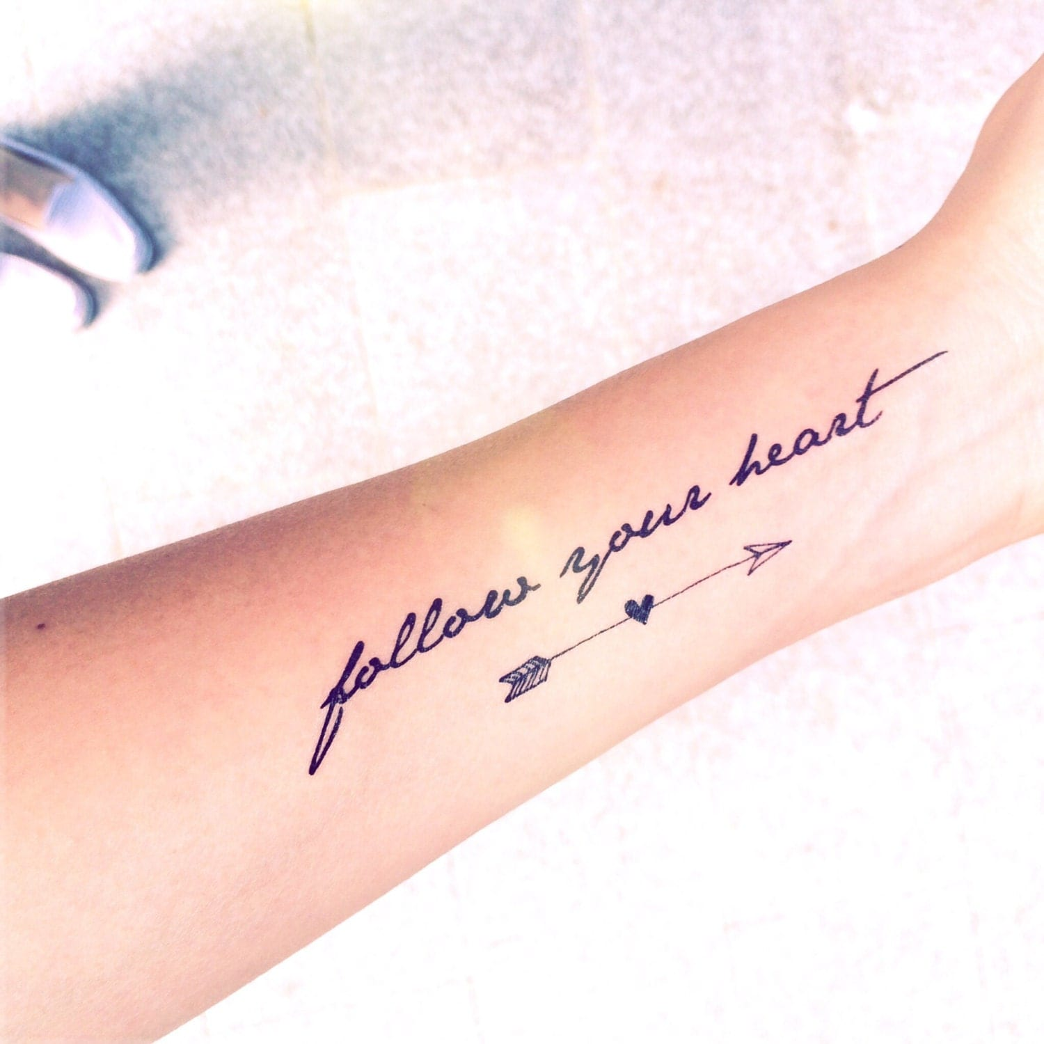 Tattoos On The Heart Quotes: 2pcs Follow Your Heart Quote And Arrow Tattoo InknArt By