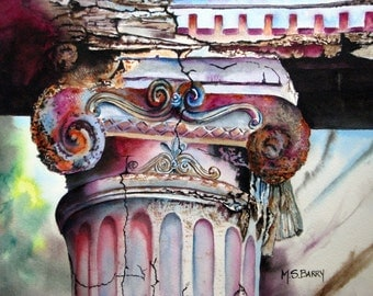 The Test of Time- Watercolor print of an old greek column.