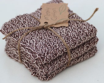 Crocheted Cotton Dishcloth, Brown Dishcloths, Brown Washcloths, Brown Tweed, Gifts under 20.00