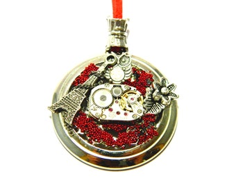 """Silver colored steampunk jewelry """"Secrets of Paris"""", handmade decorated, microspheres, steam punk pendant, red leather cord, old clockwork"""