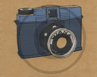 Screenprint of Vintage Diana Camera - Five Layer Portrait Format Screenprint, Dark Blue/Blue/Silver/Dark Grey on Brown Heavyweight Art Paper