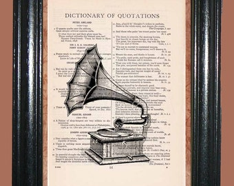 Antique Gramophone II - Dictionary Page Art, Beautiful Upcycled Page Art Print, Book Page Art, Illustration Print, Wall Decor