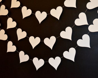 Ivory Hearts garland, Wedding Garland 10 ft Paper Hearts Wedding Decorations, Shower Decorations,  Bridal Shower Garland, Ivory Hearts