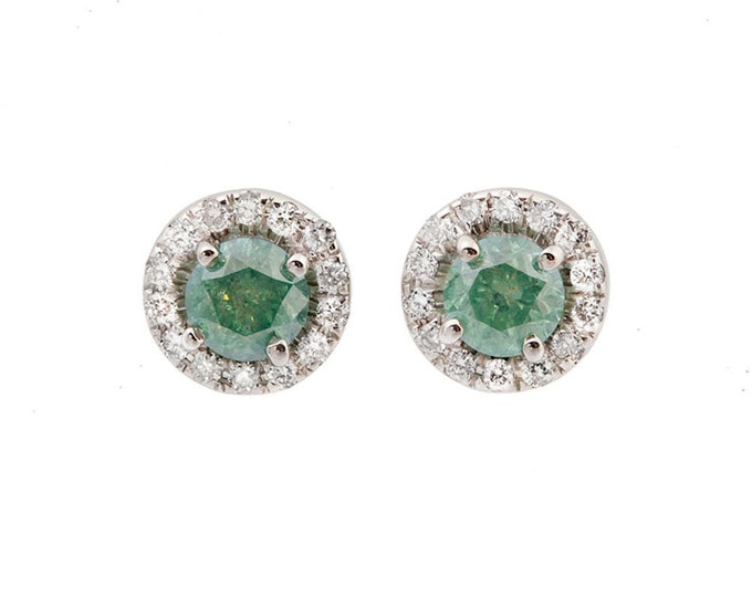 Gold diamond earrings-Green Emerald diamond earrings-Women natural emerald-For her- Anniversary present-Birthday gift- Emerald stud earrings