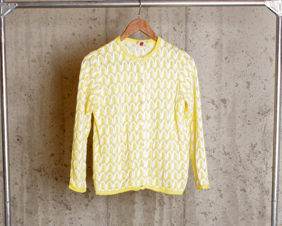 Vintage Yellow Cardigan Sweater, Yellow and White Sweater, Button Womens Cardigan