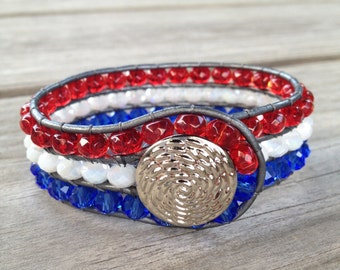 Red, White, and Blue Beaded Leather 3-Row Cuff Bracelet w/ Silver Button