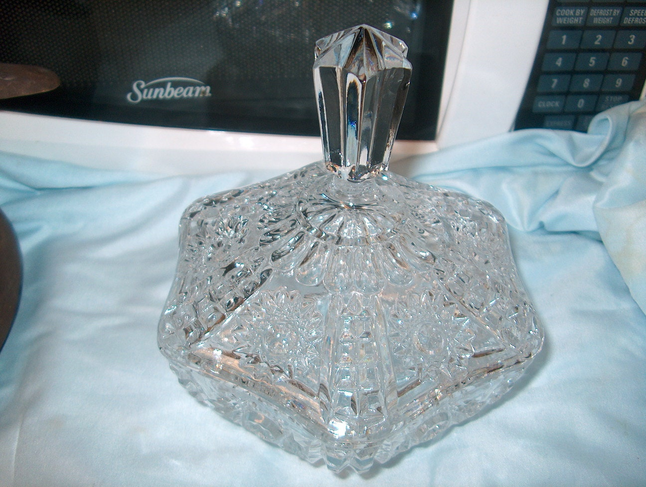 vintage pressed glass candy jar with lid by goldennuggetantiques. Black Bedroom Furniture Sets. Home Design Ideas
