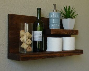 Nice Rustic Modern 2 Tier Bathroom Shelf
