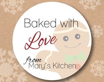 Personalized From the Kitchen of Stickers Gingerbread Man Baked Goods Label Holiday Gift Sticker Tag
