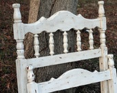 Antique Shabby Chic Painted Wood Twin Bed Headboard & Footboard Wooden Distressed White Cottage Country Farmhouse Rustic