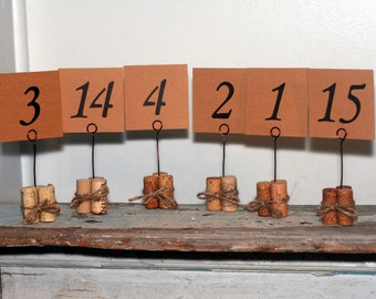 Rustic Wire Wine Corks Wedding Table Number Markers/Holders Table Decor Placemarker Rustic Country Vineyard Wedding Custom Hand Crafted OOAK