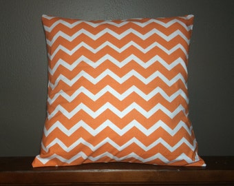 Custom made orange and white chevron pillow cover/sham. Multiple sizes to choose from.