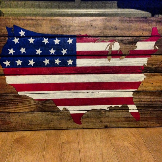 American Flag on Wood United States of America 36x21 (large) unique pallet art patriot red white and blue hand painted Memorial Soldier