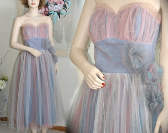 Fabulous 1950's Prom Dress, Pink, Blue, & White Tulle, With Tulle Flowers at the Hip.  Cupcake, Stage Theater, Feminine, Flirty