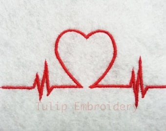 Heart Beat Machine Embroidery Design