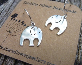 Sterling silver elephant earrings, sterling silver ear hooks.