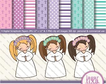 Purple Pink teal aqua turquoise Digital Paper clip art girls praying first communion background  patterns crosses polka dots invitations