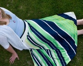 Navy and Lime Stripe Women's Maxi Skirt
