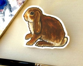 Bunny Brooch- Handmade Wooden Dwarf Lop Rabbit Brooch with Print of Original Watercolour, Easter Bunny Pin, Rabbit Art, Pet portrait
