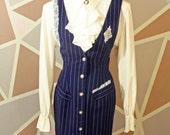 Blue SECRETARY Dress JUMPER Pinstripe Lace Ruffle Pinstripe Sz 7/8 Md
