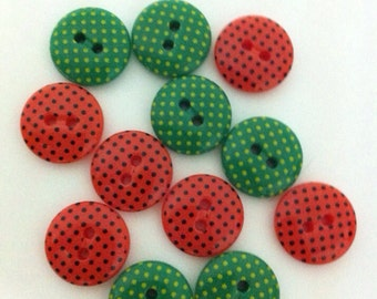 Christmas Buttons - Polka dot Buttons - Red and Green buttons - 12 pcs