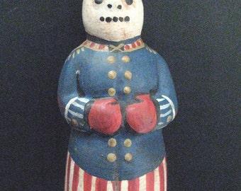 Primitive Chalkware Snowman--PATRIOTIC SNOWMAN--Chalkware Folk Art Snowman from a Vintage Mold/Hand Painted in Original Military Design