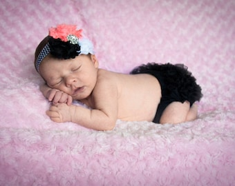 HOT PINK and BLACK bloomer set, baby headband and chiffon ruffle diaper cover, black white and pink baby set, photo prop, shabby chic