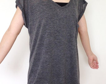 SC004: Dark Gray Women Blouse, Dolman T Shirt, Dolman Sleeve Top, Oversized Top, V Neck Tee, Lady Tshirt, Casual Chic Wide Sleeve Women Top