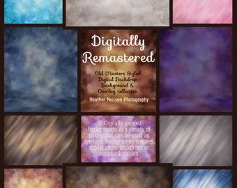 Digitally Re-Mastered Collection of Digital Backdrops Backgrounds Overlays Old Masters styled Instant download Photoshop and PSE for photos