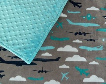 Minky Baby Blanket or Lovey - Aviator Minky Planes Front You Choose Minky Back - Baby Boy Stroller Blanket  - Turquoise, Navy, Gray