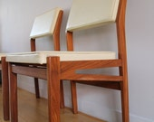 DUTCH DESIGN - One vintage retro Topform chair from the 60s. The chairs are Dutch design, have a teak frame and white skai leather seats.