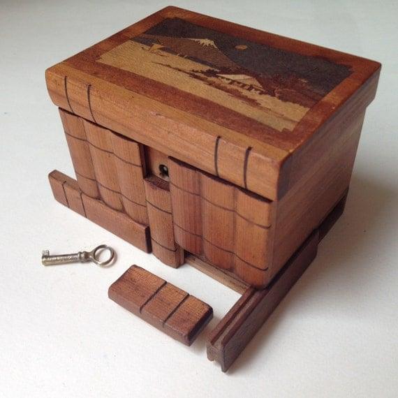 Vintage Japanese Puzzle Box Antique Wooden Marquetry Box Secret