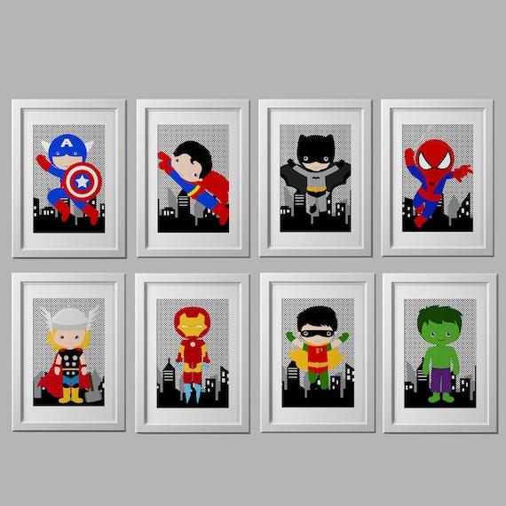 Boys Superhero Room Decor: Superhero Bedroom Wall Decor PRINTS 8x10 Inch Each Shipped