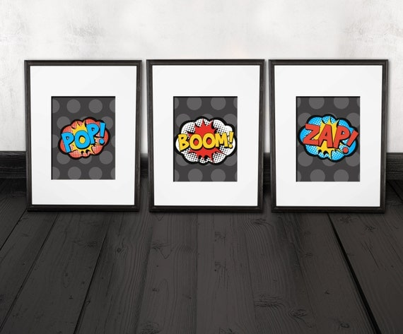 comic prints, superhero decor, 3 quality prints, shipped to your door