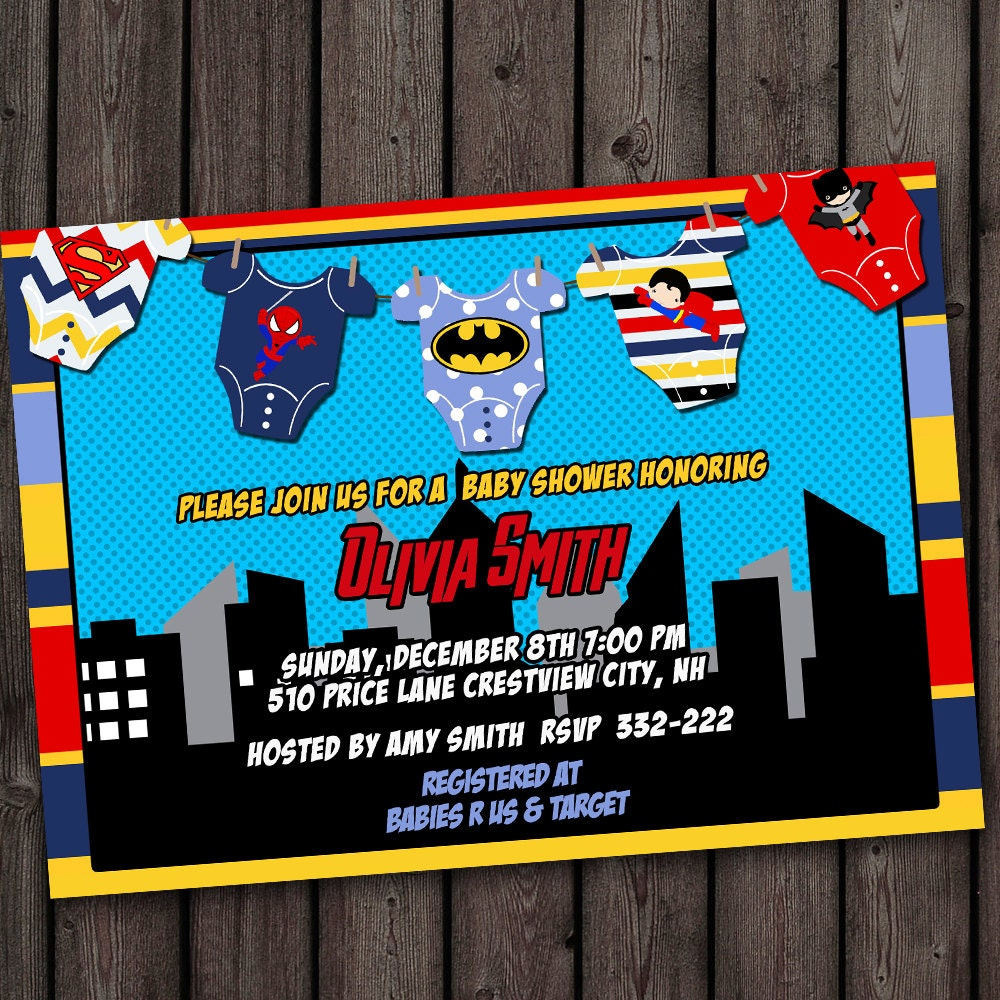 super hero baby shower invitation fast by amyssimpledesigns