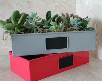Red Metal Drawer succulent planter with chalkboard