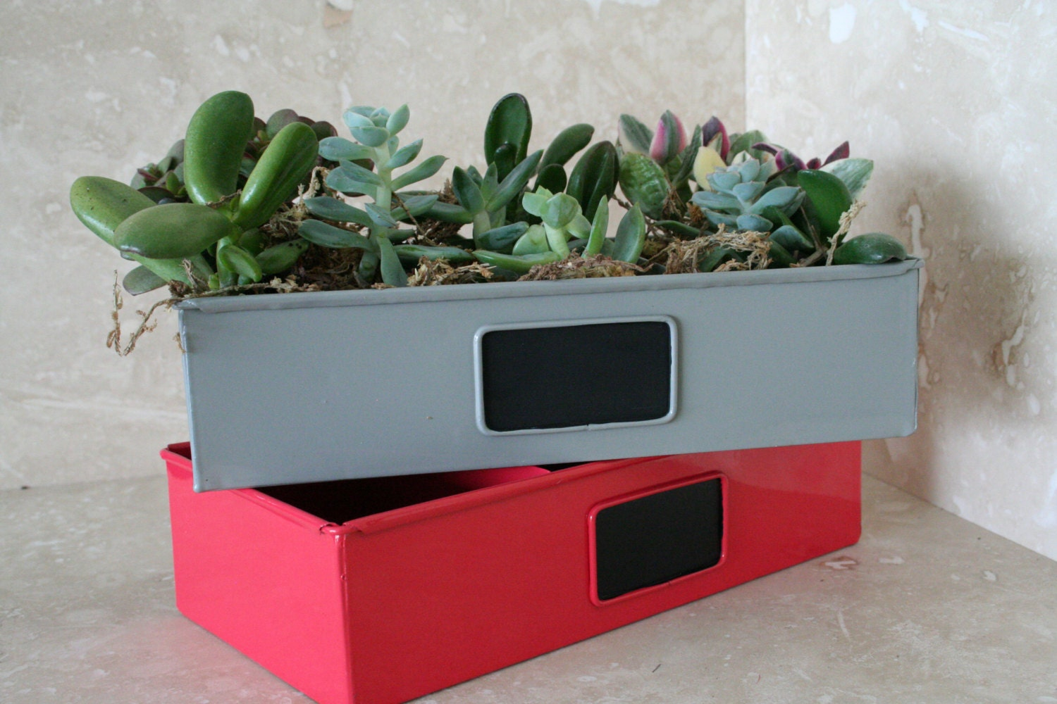 Red Metal Planter: Red Metal Drawer Succulent Planter With Chalkboard