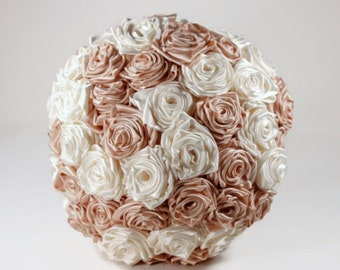 Ivory and Blush Satin Rose Bouquet with Display Stand