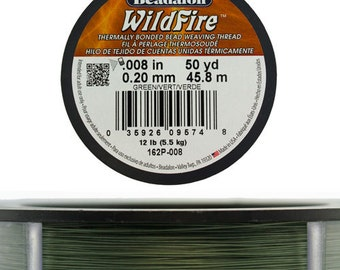"""Wildfire .008"""" By Beadalon 50yds - Frost or Green"""