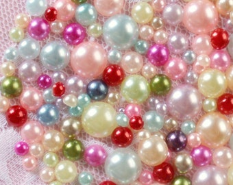 200 Pcs 10mm to 3mm Assorted Round Flatback Pearls Mix