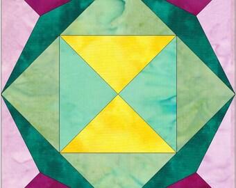 Jewel Pinwheel Paper Template Quilting Block Pattern PDF